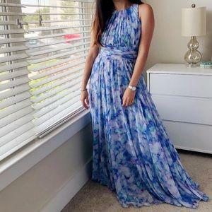 Badgley Mischka Maxi Watercolor Dress / Size 2